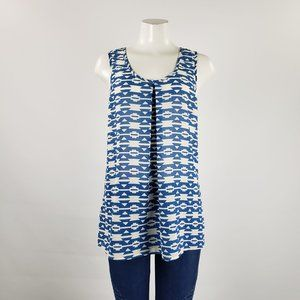 Daniel Rainn Blue & White Sleeveless Top Size M